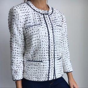 MICHAEL KORS white dots tweed boucle jacket 10